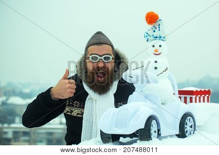Excited Man In Pilot Hat And Glasses Showing Thumbs Up