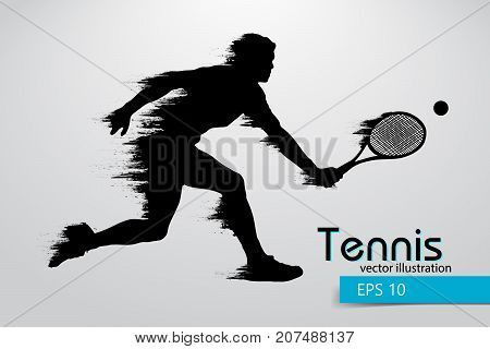 Silhouette of a tennis player. Text and background on a separate layer, color can be changed in one click. Vector illustration