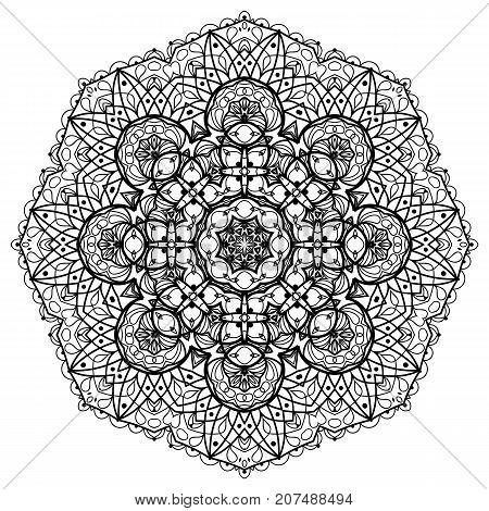 Flower Mandala. Vintage decorative elements. Oriental pattern, vector illustration. Coloring book page. Islam, Arabic, Indian, moroccan spain turkish mystic ottoman motifs