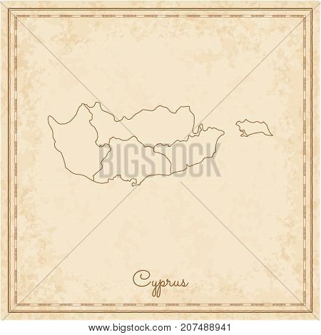 Cyprus Region Map: Stilyzed Old Pirate Parchment Imitation. Detailed Map Of Cyprus Regions. Vector I