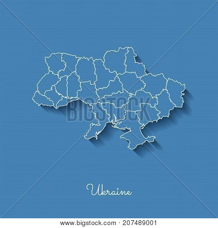 Ukraine Region Map: Blue With White Outline And Shadow On Blue Background. Detailed Map Of Ukraine R