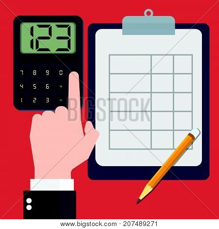 Businessmen calculating concept accountant Financial calculations counting profit income taxes statistics data analytics planning report. Flat design Vector Illustration..