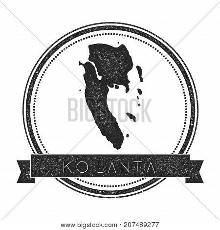 Ko Lanta Map Stamp. Retro Distressed Insignia. Hipster Round Badge With Text Banner. Island Vector I