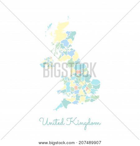 United Kingdom Region Map: Colorful With White Outline. Detailed Map Of United Kingdom Regions. Vect