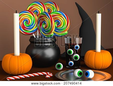 Halloween scene that consists of several multicolored lollipops two pumpkins with candles a glass with blood a hat of witch and eyes