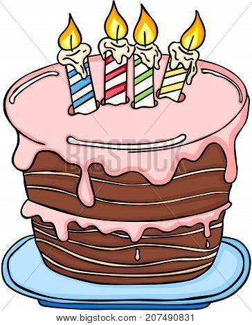 Scalable vectorial image representing a big Birthday cake, isolated on white.
