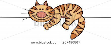Scalable vectorial image representing a cute cat peeking, isolated on white.