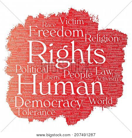 Conceptual human rights political freedom, democracy paint brush word cloud isolated background. Collage of humanity tolerance, law principles, people justice or discrimination concept