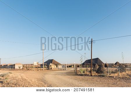 RIETFONTEIN SOUTH AFRICA - JULY 6 2017: Self-catering and camping facilities at the Rietfontein Border Post in South Africa on the border with Namibia