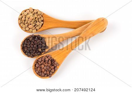 Lentils In Spoon Isolated