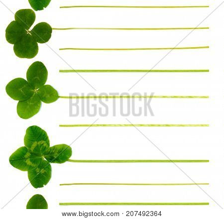 Notepad page of four-leaf clover. For list of cases, plans, ideas, goals, desires, gifts, purchases, thoughts. List leading to success and luck. Concept for St. Patrick's Day. Natural background