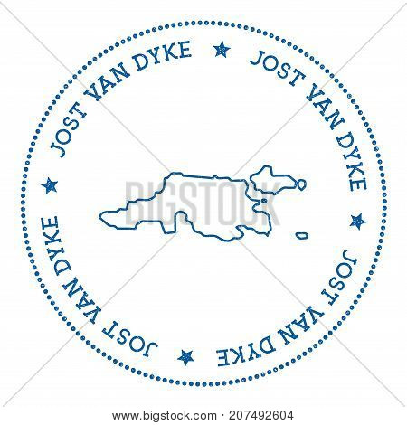 Jost Van Dyke Map Sticker. Hipster And Retro Style Badge. Minimalistic Insignia With Round Dots Bord