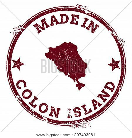 Colon Island Seal. Vintage Island Map Sticker. Grunge Rubber Stamp With Made In Text And Map Outline