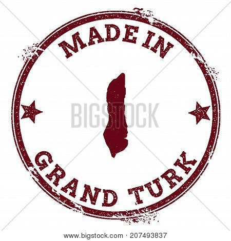 Grand Turk Island Seal. Vintage Island Map Sticker. Grunge Rubber Stamp With Made In Text And Map Ou