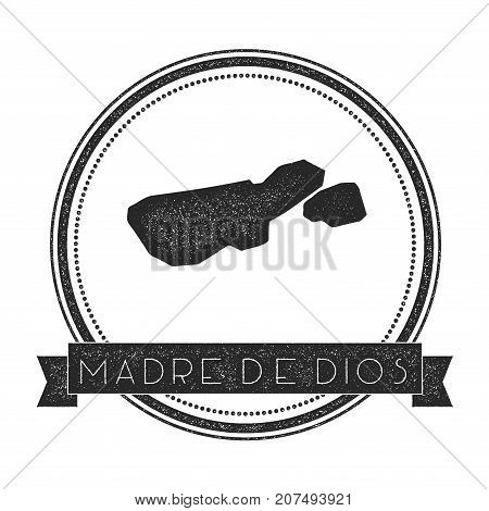 Madre De Dios Island Map Stamp. Retro Distressed Insignia. Hipster Round Badge With Text Banner. Isl
