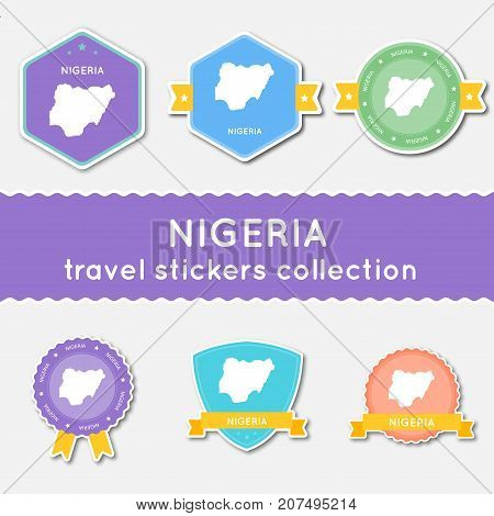 Nigeria Travel Stickers Collection. Big Set Of Stickers With Country Map And Name. Flat Material Sty