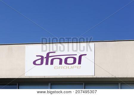 Merignac, France - June 5, 2017: Afnor logo on a wall. Afnor is the French national organization for standardization