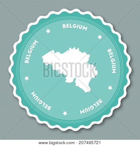 Belgium Sticker Flat Design. Round Flat Style Badges Of Trendy Colors With Country Map And Name. Cou