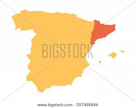 Yellow silhouette map of Spain with red highlighted Catalonia region. Simple flat vector illustration.