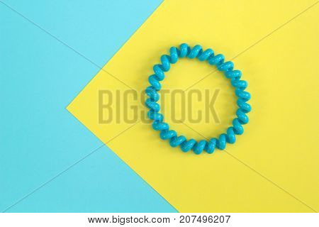 Blue Hairband On Yellow And Blue Background