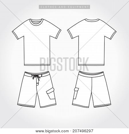 T-shirt & shorts active sport line template. Front and back side views of blank t-shirt and shorts. Vector illustration