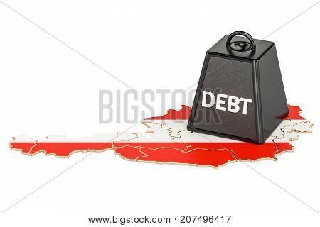Austrian national debt or budget deficit financial crisis concept 3D rendering