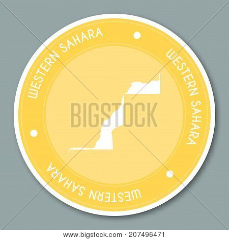 Western Sahara Label Flat Sticker Design. Patriotic Country Map Round Lable. Country Sticker Vector
