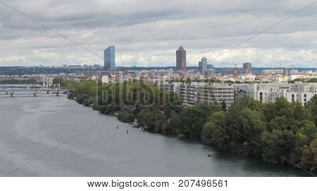 View on Rhone river and La Part-Dieu central business district skyline