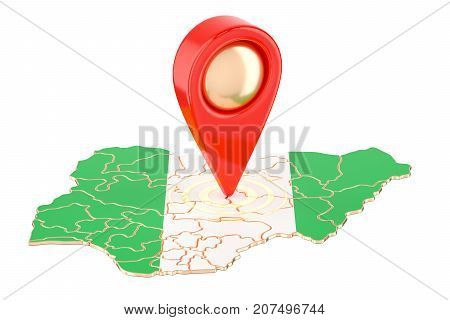 Map pointer on the map of Nigeria 3D rendering isolated on white background