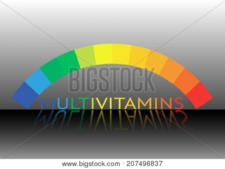 Multivitamin label inspiration, icon concept vitamins , vector isolated or black background