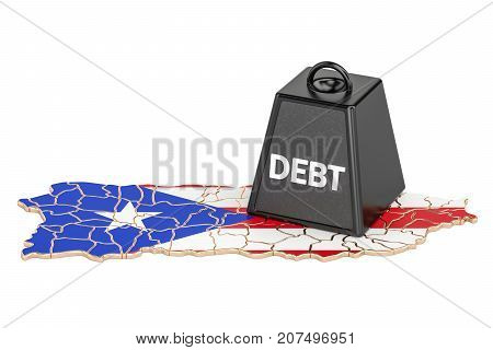 Puerto Rico national debt or budget deficit financial crisis concept 3D rendering