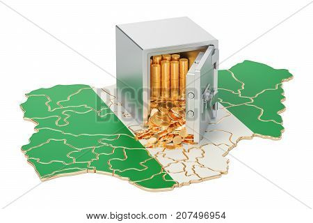 Safe box with golden coins on the map of Nigeria 3D rendering isolated on white background