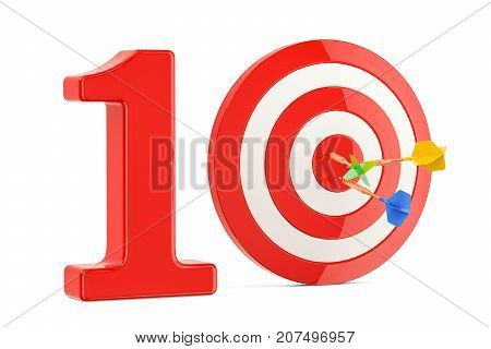 Target 10 success and achievement concept. 3D rendering isolated on white background