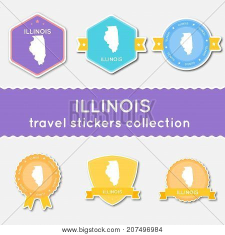 Illinois Travel Stickers Collection. Big Set Of Stickers With Us State Map And Name. Flat Material S
