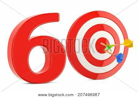 Target 60 success and achievement concept. 3D rendering isolated on white background