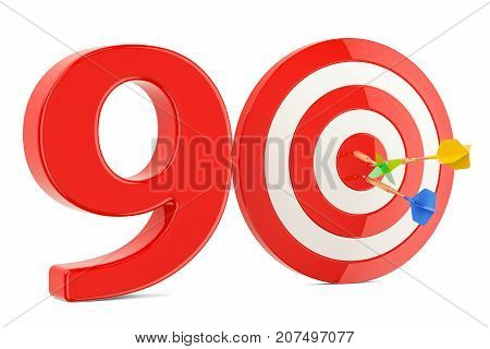 Target 90 success and achievement concept. 3D rendering isolated on white background