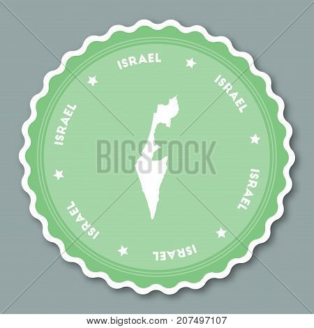 Israel Sticker Flat Design. Round Flat Style Badges Of Trendy Colors With Country Map And Name. Coun