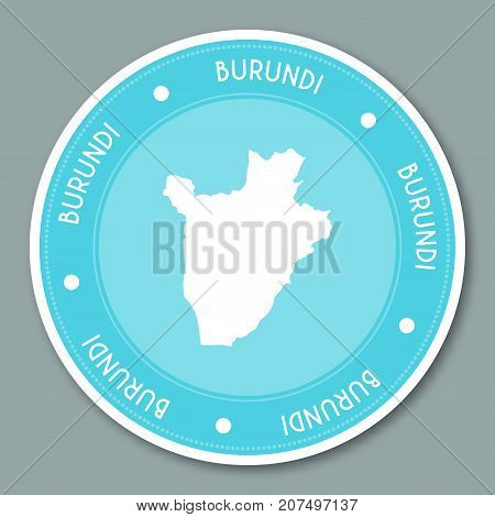 Burundi Label Flat Sticker Design. Patriotic Country Map Round Lable. Country Sticker Vector Illustr