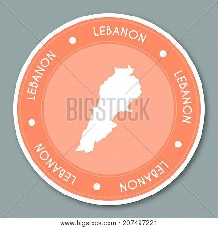 Lebanon Label Flat Sticker Design. Patriotic Country Map Round Lable. Country Sticker Vector Illustr