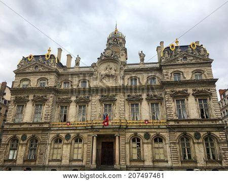 Front view of Hotel de Ville City Hall of Lyon France on Terreaux place
