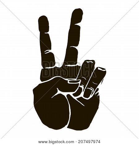 Vector black silhouette of a human hand sign victory or peace and scissors isolated on white background. Can be used for web poster info graphic.