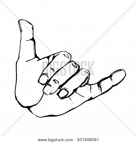 Vector black outline illustration of a human hand sign surfing shaka isolated on white background. Can be used for web poster info graphic.