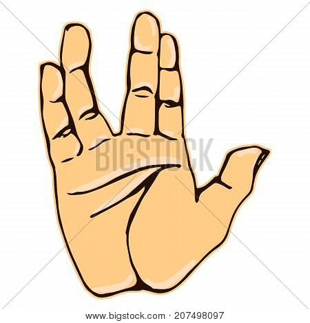 Vector colorful illustration of a human hand sign vulcan salute isolated on white background. Can be used for web poster info graphic.