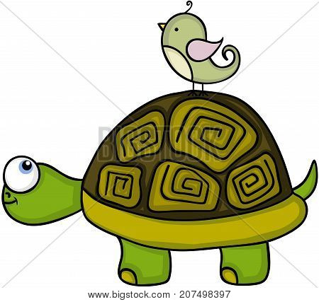 Scalable vectorial image representing a cute turtle with bird, isolated on white.