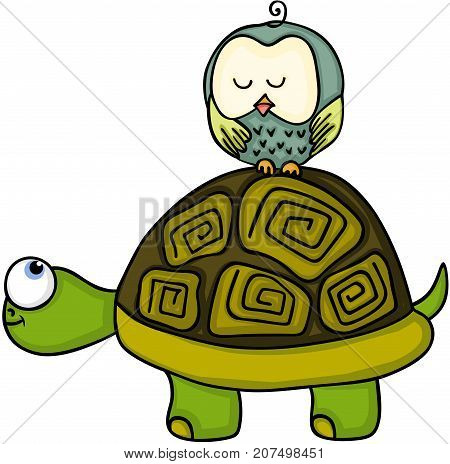 Scalable vectorial image representing a turtle with cute owl sleeping, isolated on white.