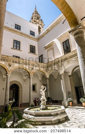 Palermo.Italy.May 26 2017.The fountain in the courtyard of the archaeological Museum in Palermo. Sicily