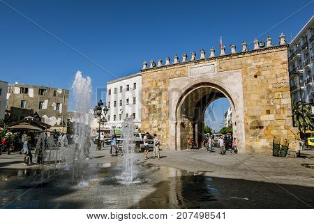 Tunisia.Tunisia.May 25 2017.Arch in the Medina in the capital of Tunisia
