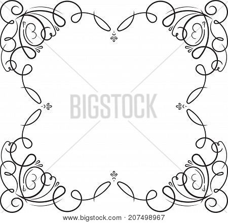 Vintage Black Swirly Frame With Empty Place For Your Text Or Other Design, Vector Illustration Greet