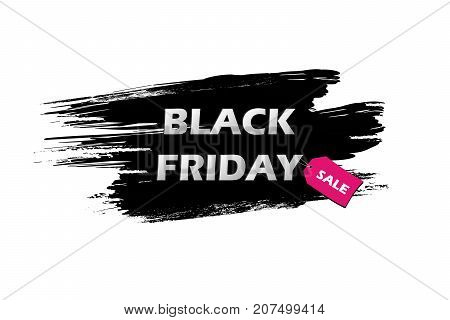 Black Friday Sale Inscription On Black Grunge Brush Stroke On White Background With Pink Tag With An
