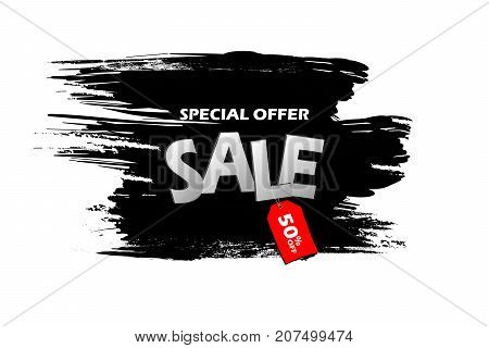 Special Offer Sale With Red Tag On A Black Grunge Smear, Brush Strokes Isolated Over White Backgroun